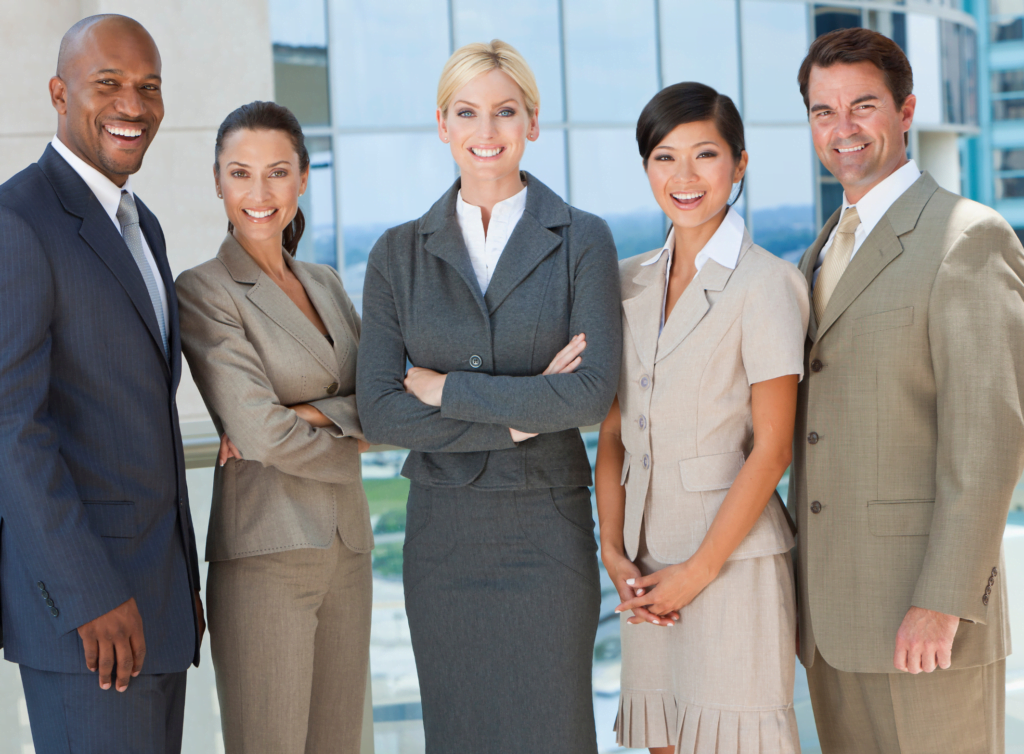 Diverse group of 5 professionals